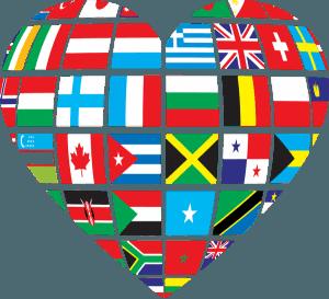 Corazon con banderas